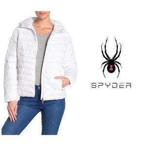 SPYDER Womens White Hooded Puffer Jacket Sz L NWT